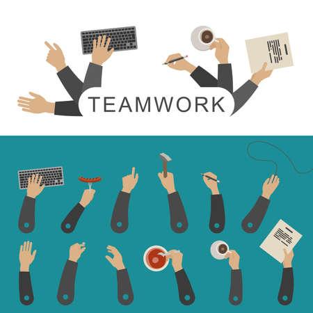 teamwork together: Teamwork concept with business hands. Simple vector flat illustration. Illustration