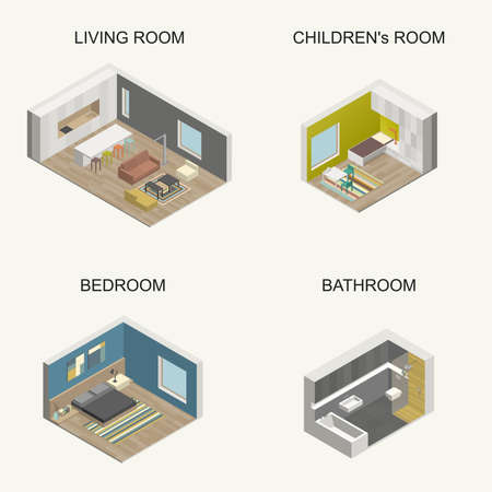 living room design: Set of vector isometric rooms. Interior design.