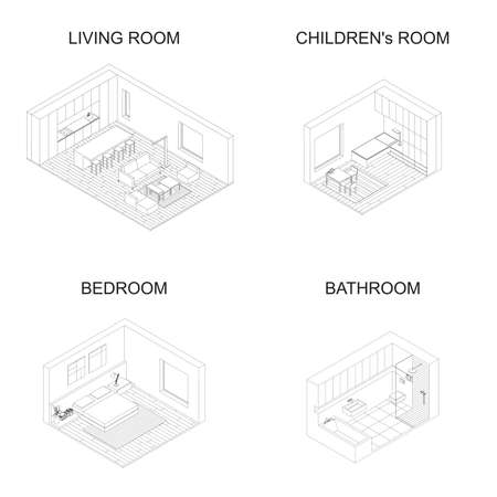 line drawings: Interior isometric vector rooms. Line drawings of living room with kitchen, bedroom, childrens room and bathroom.