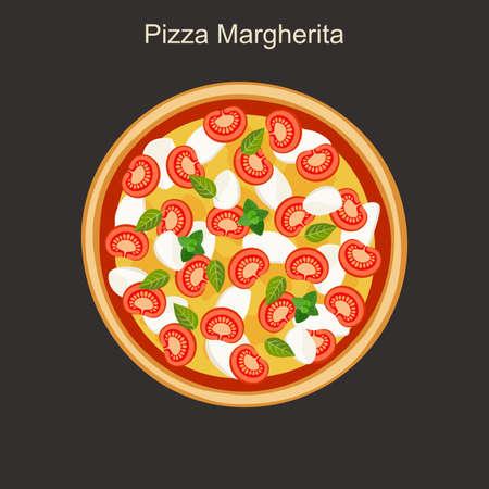 margherita: Pizza margherita with mozzarella and tomato. Vector flat illustration.