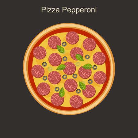 salame: Nourishing pepperoni pizza with salami. Vector flat illustration.