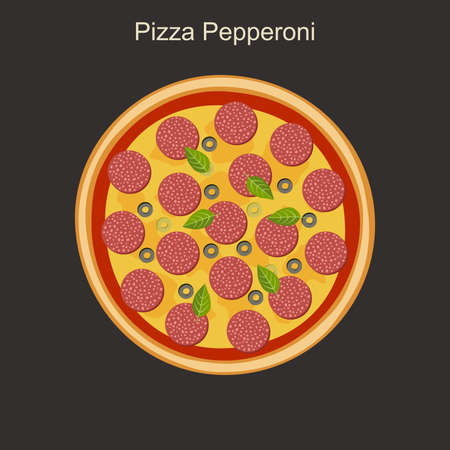 Nourishing pepperoni pizza with salami. Vector flat illustration.