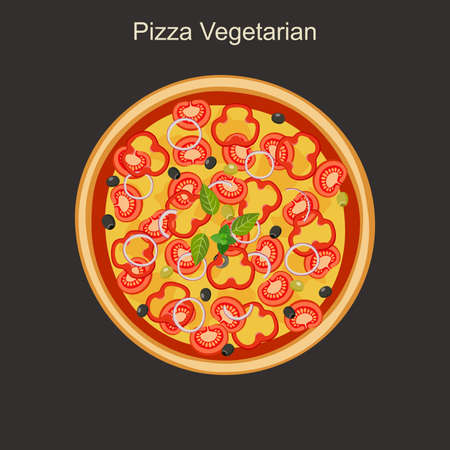 restaurante italiano: Pizza vegetariana con verduras. Vector plana ilustración.