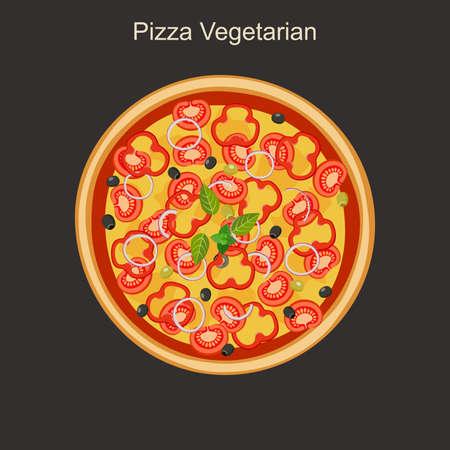 Vegetarian pizza with vegetables. Vector flat illustration. Illustration