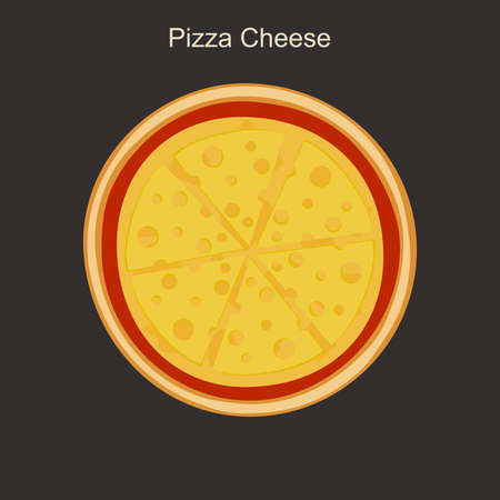 Appetizing cheese pizza in flat style. Vector illustration.