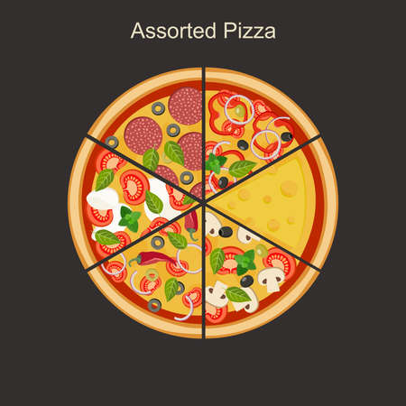 pizza: Assorted pizza. Tasty triangular pieces of pizza. Illustration