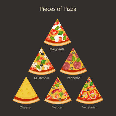 Pieces of different types pizza in flat style.