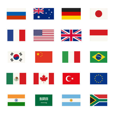 Simple flags icons of the countries in flat style. Çizim