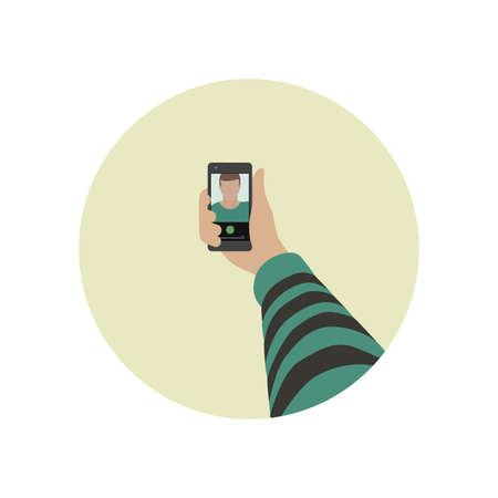 selfie: Selfie flat icon. Simple vector illustration of taking selfie photo on smart phone.