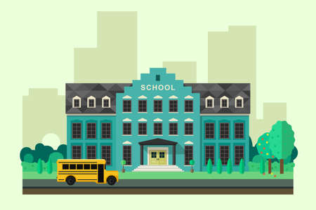 School building with school yellow bus in flat style. Vector education banner. Illustration