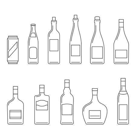 bebidas alcohÓlicas: Las bebidas alcohólicas iconos de líneas finas en blanco.