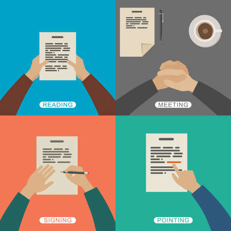 pen and paper: Four scenes of business working. Simple flat illustration with hands.