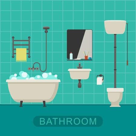 de higiene: Baño ilustración plana con inodoro, lavabo y suministros de higiene. Vector bandera del baño.