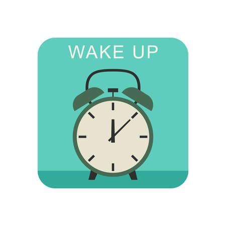 awakening: Wake up flat icon with alarm clock. Illustration