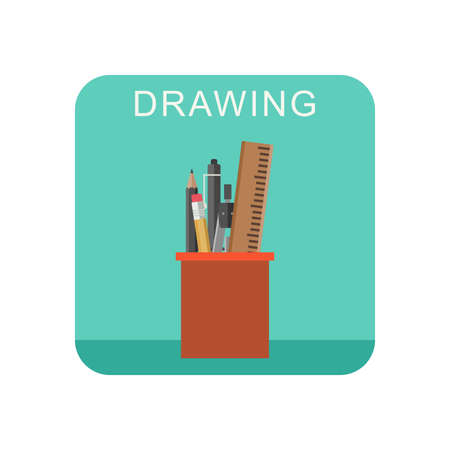 red pencil: Drawing flat icon with cup pencils and pens.