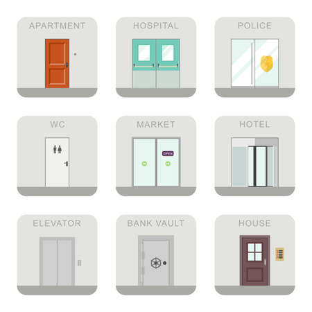 door bell: Icons doors for different purposes in flat style.