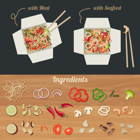 chinese takeout box: Chinese noodles with meat and seafood in paper box. Ingredients for noodles WOK. Illustration