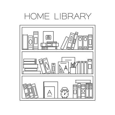 black lines: Bookshelf with books, alarm clock and cup with pencils. Vector thin line illustration.