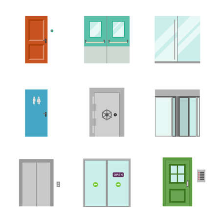 Doors for different purposes in flat style.