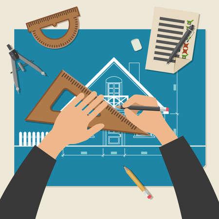ingeniería: Proceso de diseño de la casa. Ilustración vectorial simple de planos con el equipo de dibujo profesional. Vectores