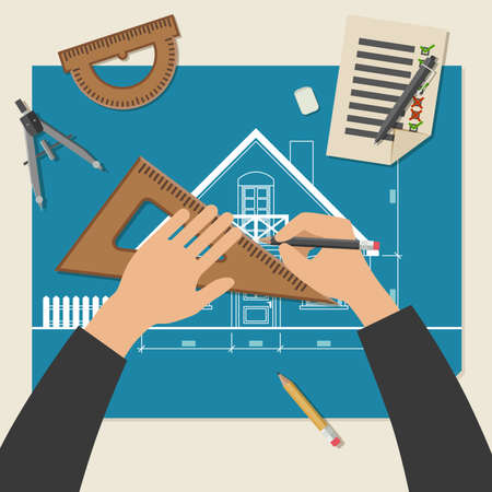 architect drawing: Process of designing the house. Simple vector illustration of blueprints with professional drawing equipment.