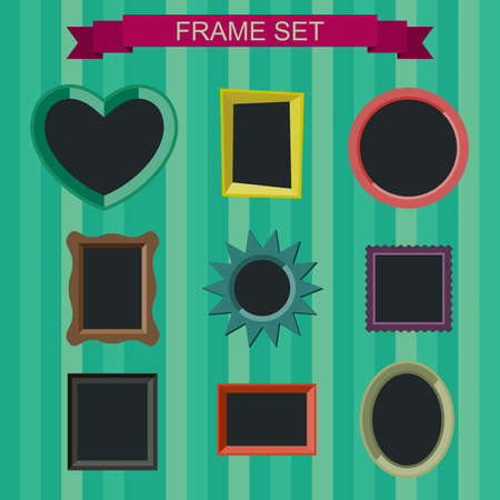 hearts background: Simple vector photo frames in flat style.