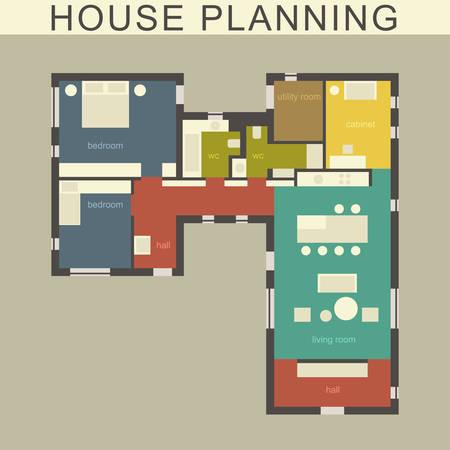 Plan architectural d'une maison. Dessin vectoriel.