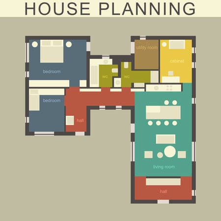 Architectural plan of a house. Vector drawing. Illustration