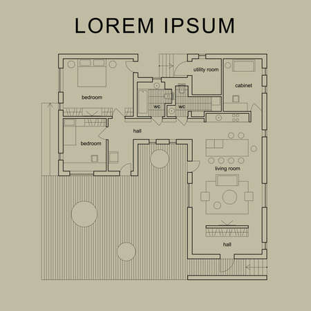 floorplan: Blueprint. Vector architectural plan of modern house.