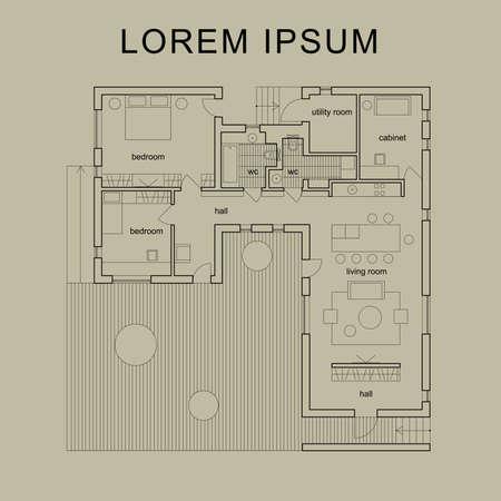 Plan. Vecteur plan architectural de la maison moderne. Illustration