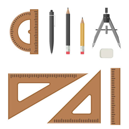 Drawing equipment in flat style. Architectural workplace.