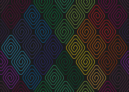 meander: Seamless pattern with colorful rhombuses spirals.