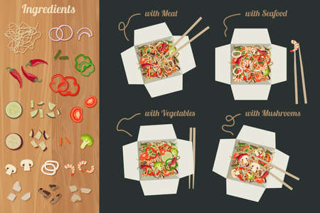 chinesisch essen: Chinesische Nudeln mit Fleisch, Fisch, Gemüse und Pilze in Papierschachteln. Zutaten für Nudeln Wok. Illustration