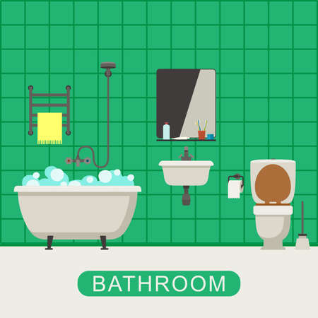 hygienic: Bathroom with toilet, sink and hygienic supplies. Vector banner of bathroom in flat style.