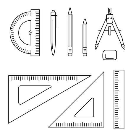 lijntekening: Vector lijn iconen van tekening instrument. Dunne tekenen professionele apparatuur. Stock Illustratie