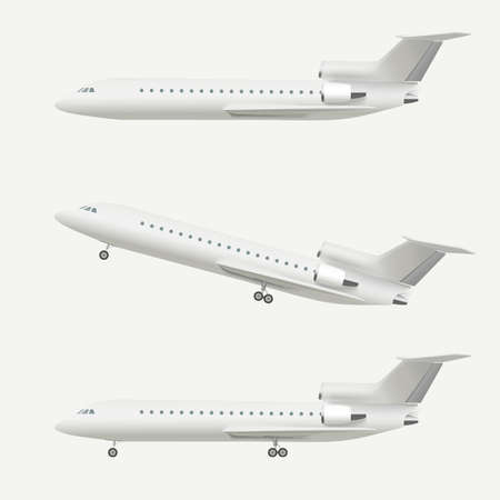 aeroplano: Aeroplano isolato su bianco. Illustrazione vettoriale realistico di aereo che decolla e piano di volo.
