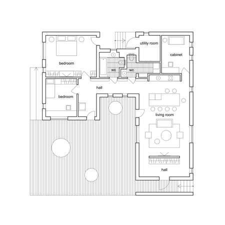 Blueprint on white background. Vector architectural plan of modern house.