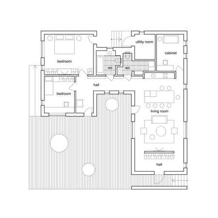 Blueprint su sfondo bianco. Progetto architettonico della casa moderna vettore. Archivio Fotografico - 47169657