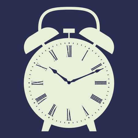 late: Alarm clock vector illustration on dark blue background. Dial with Roman numerals. Illustration