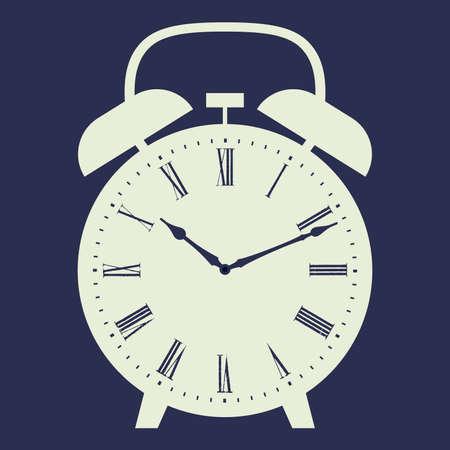 numeros romanos: Ilustraci�n vectorial de reloj de alarma sobre fondo azul oscuro. Marque con n�meros romanos.