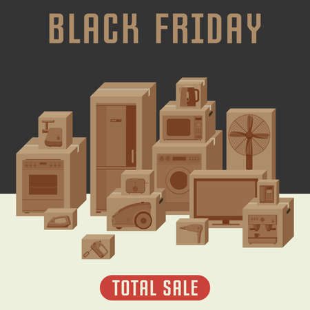 black appliances: Household appliances in boxes. Concept banner of the retail and black friday.