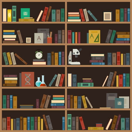 book shelf: Home library with books, microscope, alarm clock and cup with pencils. Illustration