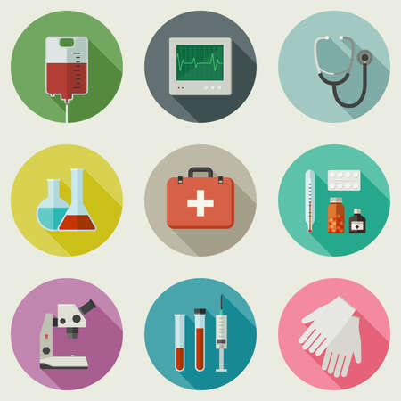 medicament: Medicine icons set with medical instruments and medicament in flat style.