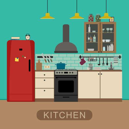 kitchen knife: Interior de la cocina con muebles y equipos. Bandera del vector de cocina en estilo plano. Vectores