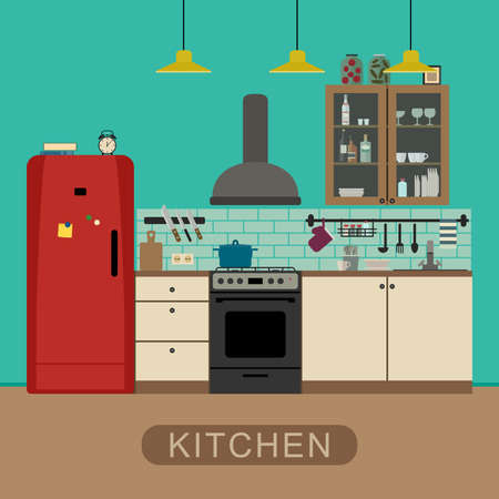 wood furniture: Kitchen interior with furniture and equipment. Vector banner of kitchen in flat style.