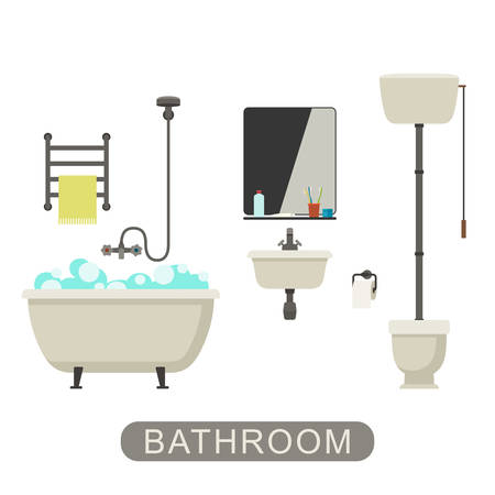 sanitary engineering: Bathroom flat illustration with toilet, sink and hygienic supplies. Vector banner of bathroom.
