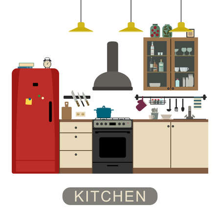 refrigerator kitchen: Kitchen interior with furniture and equipment. Vector banner of kitchen in flat style.