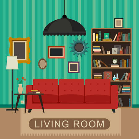 library shelf: Living room interior with furniture. Vector banner of living room in flat style.