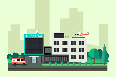 car care center: Hospital with ambulance car and helicopter in flat style. Vector medicine banner.