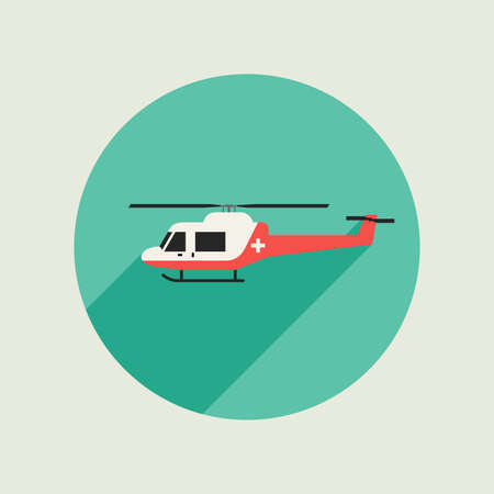 helicopter rescue: Ambulance helicopter icon in flat style. Vector simple illustration. Illustration